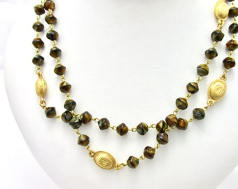 Vintage necklace necklace by Guy Laroche, tiger eye and gold metal beads, couture jewelry