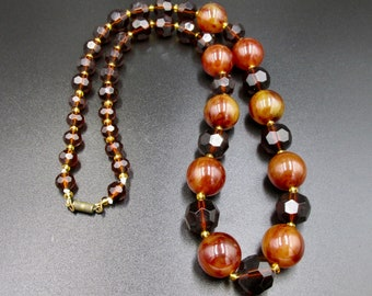 Vintage necklace art deco style bakelite color and faceted plastic beads marbled yellow and cognac amber