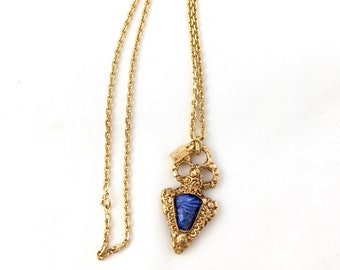 Beautiful necklace necklace style reliquary heart Ex Voto signed Alexis Lahellec in gold-plated metal and lapis lazuli imitation