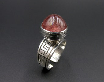 Scandinavian style ring minimalist sphere in pink quartz in solid silver 925 T 54 - 55 Flora Guigal