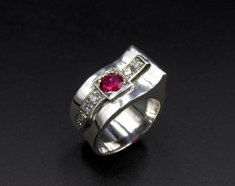 Art Deco tank ring made of 925 silver set with a pink synthetic ruby and imitation diamond oxides size 53