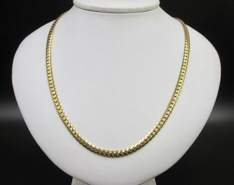 Large gold-plated chain necklace for women, English mesh 60.5 cm