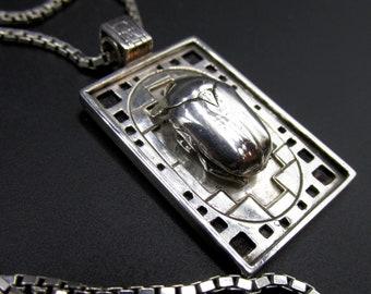"Insect pendant necklace ""entomology"" silver 925 cartridge beetle unique piece handmade creation Flora Guigal"