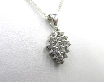 925 silver necklace for women or girl and diamond imitation diamond pendant
