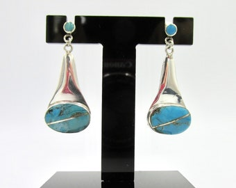 925 pear-shaped dangling earrings set with turquoise boho hippie style