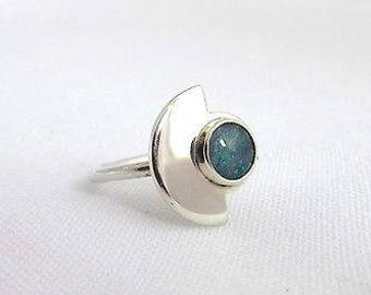 Half circle Silver 925 ring with Opal cabochon T49