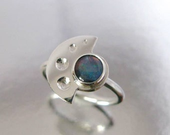 Half circle ring, 925 silver half moon and harlequin opal cabochon T 53 minimalist jewel designer jewel