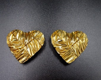 Vintage clip earrings by Yves Saint Laurent square streaked golden hearts