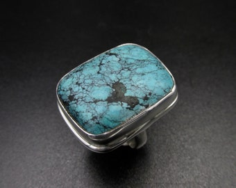 Large 925 silver ring with an ethnic style set with a reconstituted turquoise rectangle shape size 54