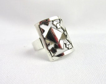 Handmade silver woman ring 925 square geometric patterns cut out ring creation Flora Guigal