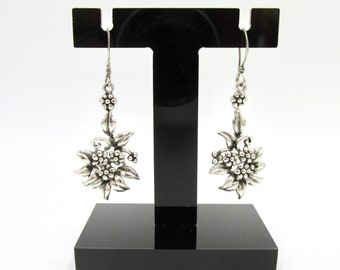 Vintage earrings dangling for silver women 925 décor Flowers and foliage