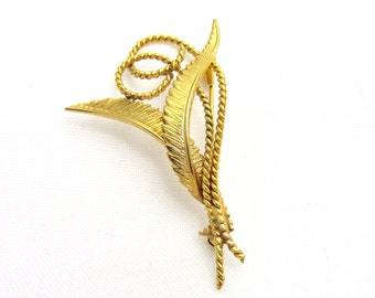 Vintage brooch in gold-plated Murat wavy feathers and twisted thread