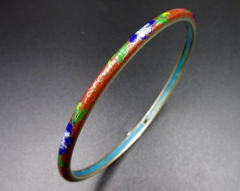 Bracelet rush edin old Chinese woman flower decoration in small partitioned enamel