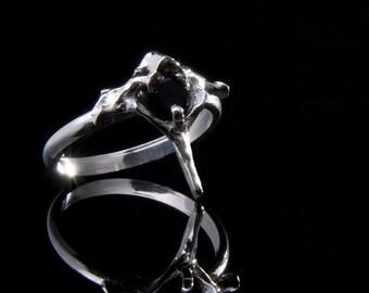 Ring vertebra silver skeleton 925 and black zirconium oxide T 54 unique piece Flora Guigal