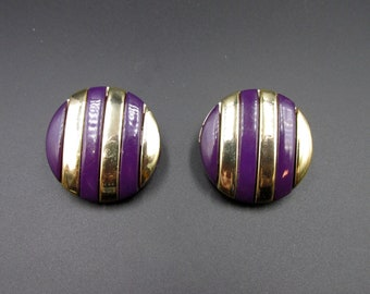 Round clip earrings vintage plastic striped purple and gold origin RFA West Germany