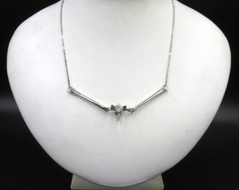 Skeleton necklace unique piece in 925 silver for women, vertebra and bone imitation diamond