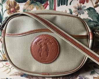 Jacques Esterel vintage shoulder bag in beige coated canvas and brown leather