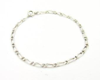 Alternate gourmet bracelet for women or young men in solid silver 925 18.5 cm