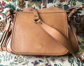 Massimo Dutti soft leather shoulder bag in nude brown