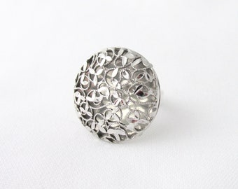 Open ring in silver 925 with adjustable open-plan vegetable decoration T 57