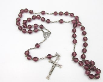 Ancient French art nouveau chapel in silver and amethyst colored glass beads