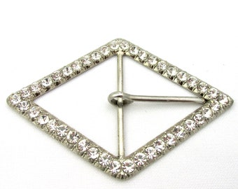 Vintage silver and diamond shaped white rhinestone belt buckle