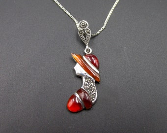 Vintage silver necklace with her old-style woman profile pendant set with marcassite