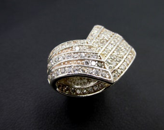 Silver woman ring 925 ribbon paved with white zirconium oxides T53