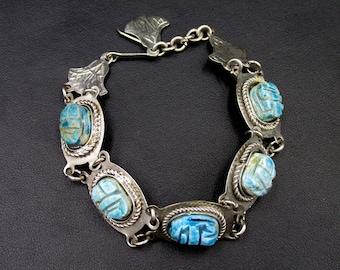 Vintage silver metal bracelet set with turquoise blue ceramic beetle