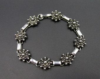 Beautiful silver bracelet vintage charro button, made in watermark, original Spain