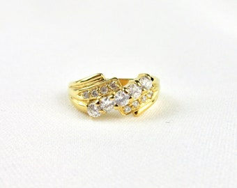 Woman ring in yellow gold plate and white zirconium oxides imitation diamonds T 54