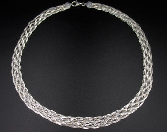 Beautiful silver neck necklace 925 braided mirror mesh 7 strands