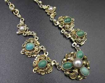 Beautiful 19th century Victorian necklace and Austro-Hungarian origin in turquoise vermeil silver and white pearls