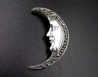 Growing vintage moon brooch, profile face, 925 silver moon face and marcassites