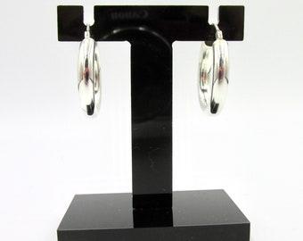 Earrings creole rings in silver 925 tubes 2.4 cm in diameter