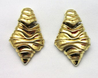 Earrings clip vintage dangle signed Agatha articulated goldtone vintage 90