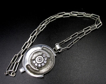 Circular pendant necklace in solid silver and white zirconium oxides unique piece flora Guigal creation