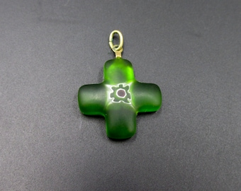vintage cross pendant Millefiori green color in frosted glass