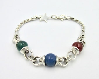 Silver woman bracelet 925 glass beads red and green blue on silver chain and star pattern
