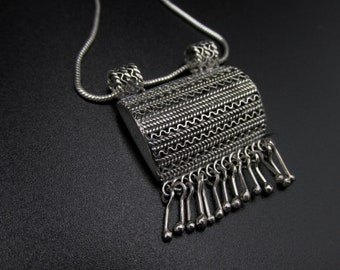 Reserved for Tatyana women's necklace with a clean style made of filigree silver, snake chain, chic ethnic style