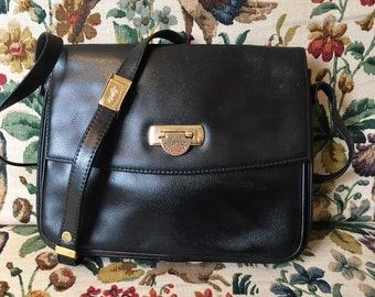 4442316e6d1e Shoulder bag vintage French black leather and Golden brand Francinel  shoulder strap