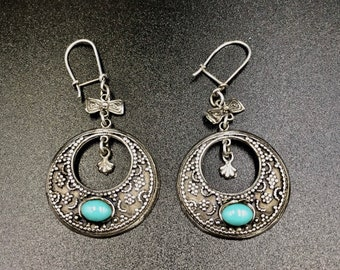 925 Silver earrings dangle vintage style ethnic boho Crescent moons and turquoise cabochon