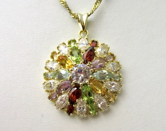 Beautiful rose vermeil, silver pendant 925 silver plated gold set with a multitude of different color marquise cut stones