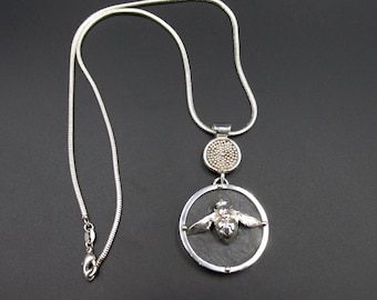Single piece necklace woman pendant insect bumblebee bee solid silver 925 and slate Creation Flora Guigal entomology