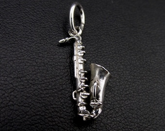vintage bass pendant in solid silver, jewel musical instrument