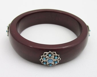 Vintage burgundy bracelet and silver and turquoise metal insert