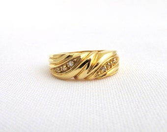Yellow gold-plated vintage woman ring set with white zirconium oxides T 52
