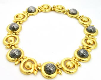 Beautiful and imposing vintage necklace in gold and grey metal by Marie Victoire Kamer