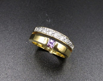 Ring double rings yellow gold plated zirconium oxides white and violet T 51.5