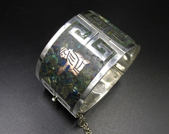 Large vintage taxco Mexico cuff bracelet in sterling silver brass and copper décor with malachite insert and lapis lazuli